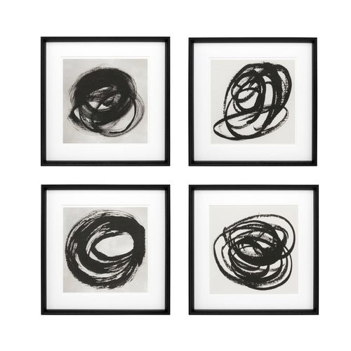 EICHHOLTZ Prints Black & White Collection I set of 4 * Black wooden frame | clear glass