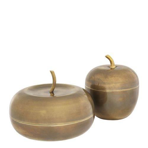 EICHHOLTZ Box Apple set of 2 * Vintage brass finish