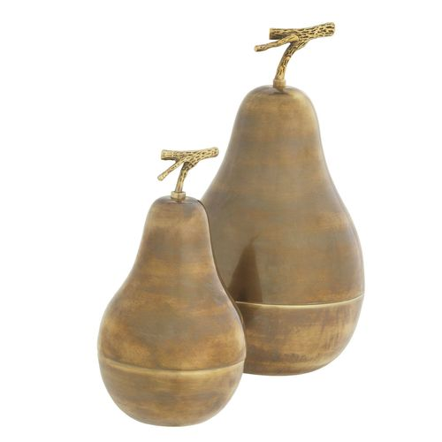 EICHHOLTZ Box Pear set of 2 * Vintage brass finish