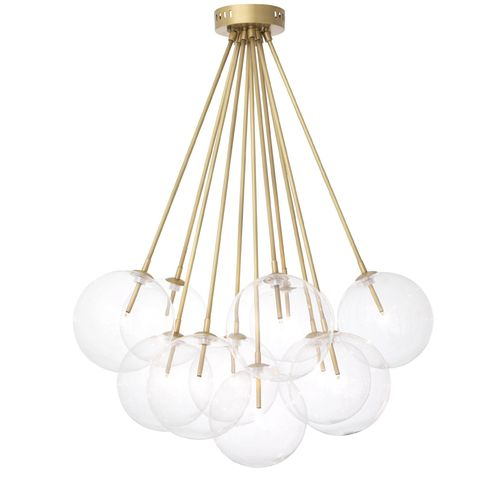 EICHHOLTZ Ceiling Lamp Molecule * Antique brass finish | clear glass