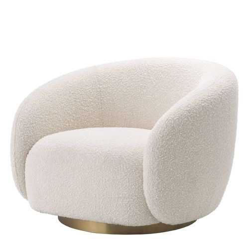 EICHHOLTZ Swivel Chair Brice * Bouclé cream | brushed brass swivel base