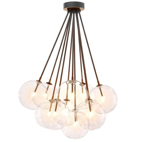 EICHHOLTZ Ceiling Lamp Molecule * Bronze highlight finish | clear glass