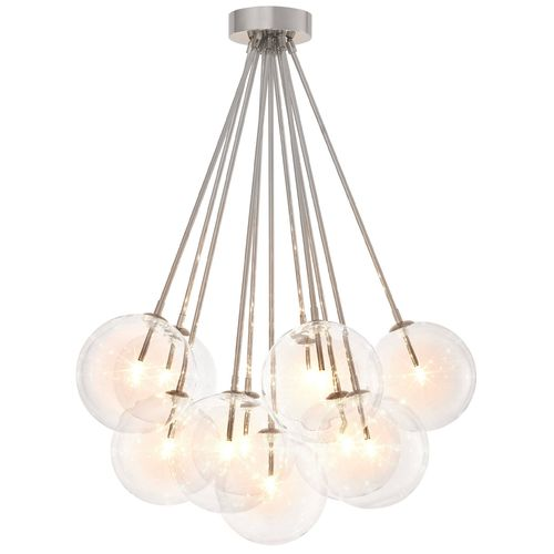 EICHHOLTZ Ceiling Lamp Molecule * Nickel finish | clear glass