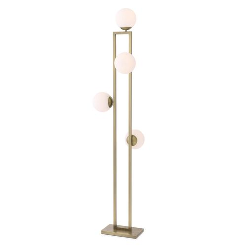 EICHHOLTZ Floor Lamp Pascal * Light brass finish | white glass