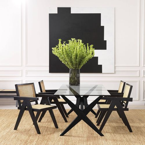 EICHHOLTZ Dining Table Maynor * Classic black | clear glass