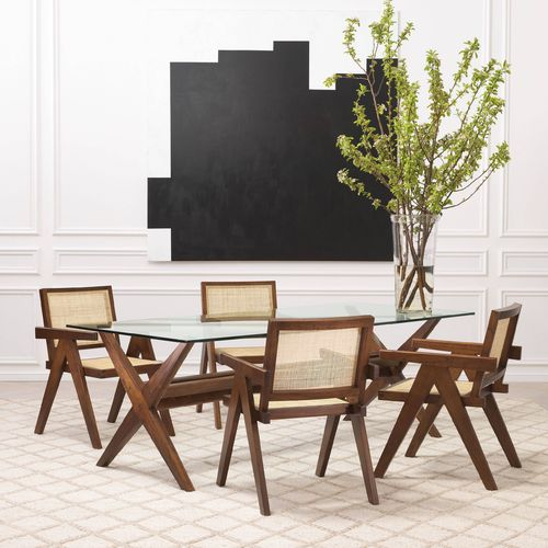 EICHHOLTZ Dining Table Maynor * Classic brown | clear glass