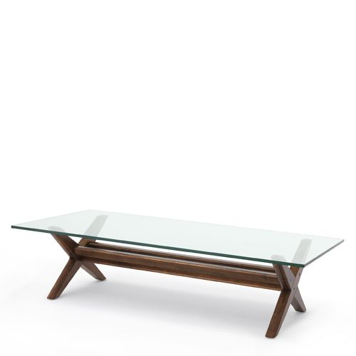 EICHHOLTZ Coffee Table Maynor * Classic brown | clear glass