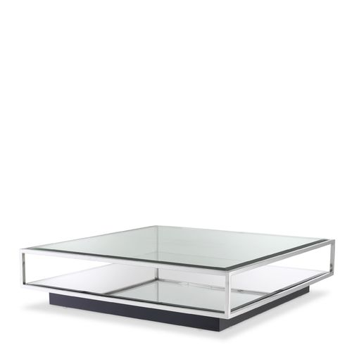 EICHHOLTZ Coffee Table Tortona L * Polished stainless steel | mirror glass | clear glass