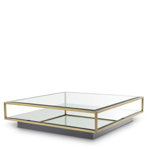EICHHOLTZ Coffee Table Tortona L * Brushed brass finish | mirror glass | clear glass