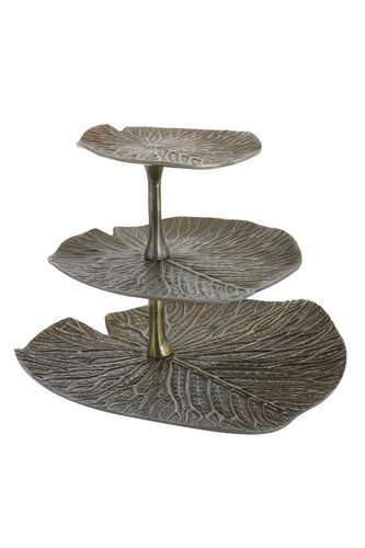 Light & Living 6609318 - Etagere 3 Schichten 33x33x28 cm LEAF antik bronze