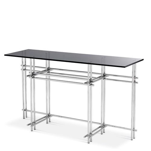 EICHHOLTZ Console Table Quinn * Polished stainless steel | smoke glass