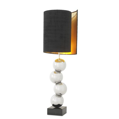 EICHHOLTZ Table Lamp Aerion * Nickel finish | black marble base