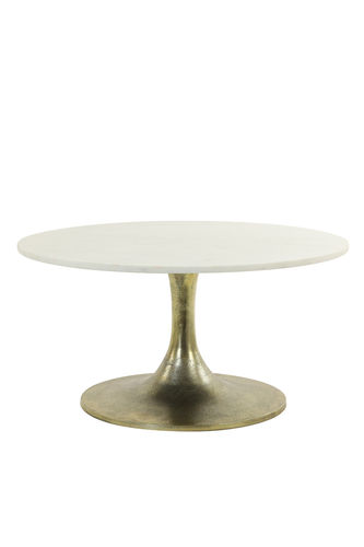 Light & Living 6765426 - Couchtisch Ø76x36 cm RICKERD weiß Marmor+antik bronze
