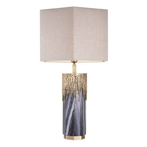 EICHHOLTZ Table Lamp Miller * Grey marble | vintage brass finish