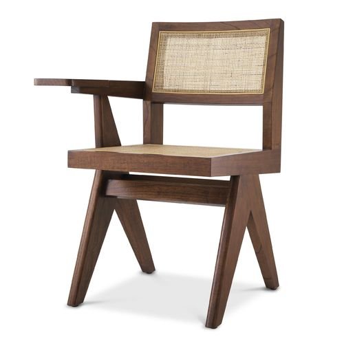 EICHHOLTZ Chair Niclas with desk * Classic brown | rattan cane webbing