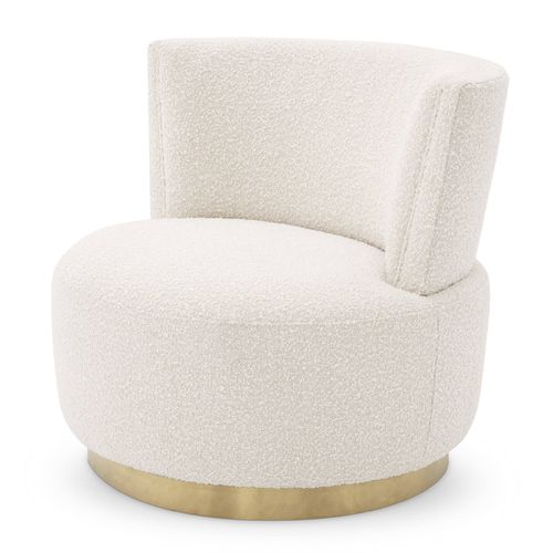 EICHHOLTZ Swivel Chair Alonso * Bouclé cream | brushed brass finish swivel base
