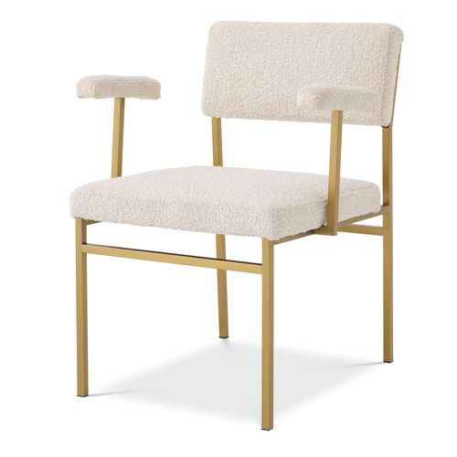 EICHHOLTZ Chair Dunmore * Bouclé cream | brushed brass finish
