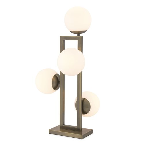 EICHHOLTZ Table Lamp Pascal * Light brushed brass finish | white glass