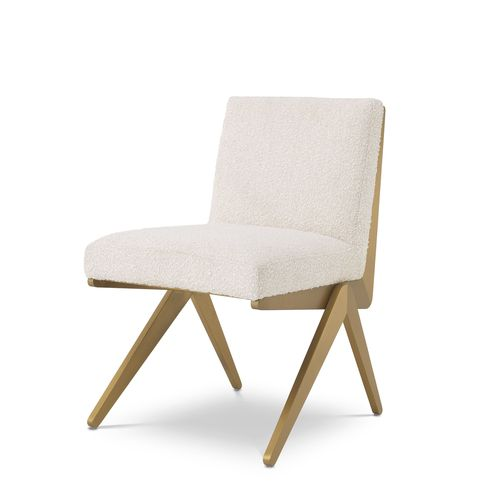 EICHHOLTZ Dining Chair Fico * Bouclé cream | brushed brass finish
